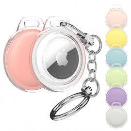 [S2B] Alpha Pastel AirTags Combo Case _ Compatible with Apple AirTags Case Keychain Holder Key Ring Cases Air Tags Protective Cover Airtag Key Chain Loop Holders for Luggage Dog Cat Pet Collar