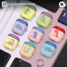 [S2B] DINO AirPods Case Cover _ Support Wireless Charging Cover Full Cover Protective Case Compatible for Apple Airpods 1 & 2, Made in Korea