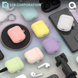 [S2B] Pastel AirPods Case Cover _ Hard Case Support Wireless Charging Cover Full Cover Protective Case Compatible for Apple Airpods 1 & 2, Made in Korea