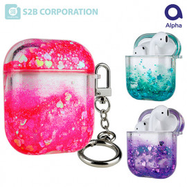 [S2B] Alpha Rainbow Bling Aqua AirPods  Pro Case_ Airpods Compatible Strong Material Case .AirPods Pro