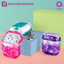 [S2B] Alpha Rainbow Bling Aqua AirPods 1/2 Compatible Case_ Airpods Compatible Strong Material Case .AirPods Pro