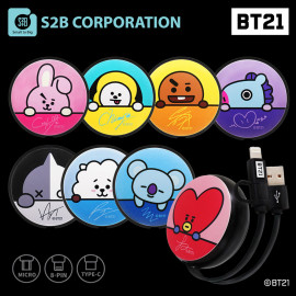 [S2B] BT21 Retractable Cable_ Authentic BT21 Product, MFi C89 Cable, Micro USB Cable, USB Type C Cable, 2.4 Fast Charging Cable, iPhone, Samsung Galaxy, Android Phone, Tablet & etc