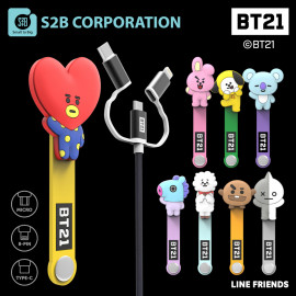 [S2B] BT21 3 in 1 Cable_ Authentic BT21 Product, MFi C89 Cable,  2.4A Micro USB Cable, USB Type C Cable,  2.4A Fast Charging Cable, iPhone, Samsung Galaxy, Android Phone, Tablet & etc