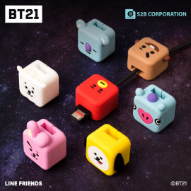 [S2B] BT21 Cubies Cable Accessory _  Cable Protector, Charging Cable Buddies, Cable Protect, Cable Saver, Compatible for Samsung Galaxy iPhone iPad AirPodㄴ Charger Cable