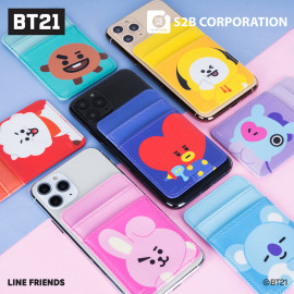 [S2B] BT21 Card Pocket _Cell Phone Card Holder Pocket  for iPhone, SAMSUNG Galaxy Android All Smartphones Made in Korea