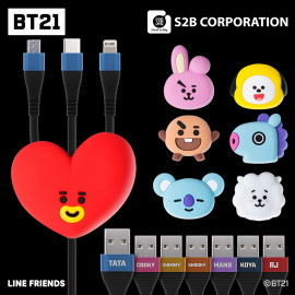 [S2B] BT21 Multicharge 3 in 1 Cable_ Authentic BT21 Product, MFi C89 Cable,  2.4A Micro USB Cable, USB Type C Cable,  2.4A Fast Charging Cable, iPhone, Samsung Galaxy, Android Phone, Tablet & etc