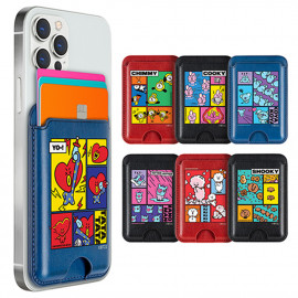 [S2B] BT21 Focus On Me Card Pocket _ Smartphone Card Holder Pocket  for iPhone, SAMSUNG Galaxy Android All Smartphones Made in Korea