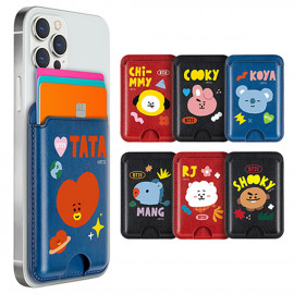 [S2B] BT21 Green Planet Card Pocket _ Smartphone Card Holder Pocket  for iPhone, SAMSUNG Galaxy Android All Smartphones Made in Korea