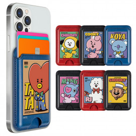 [S2B] BT21 Vintage Cover Card Pocket _ Smartphone Card Holder Pocket  for iPhone, SAMSUNG Galaxy Android All Smartphones Made in Korea