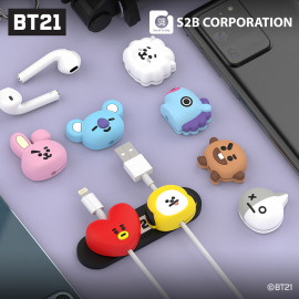 [S2B] BT21 Face Magnetic Cable Holder _Cable Clips, Management for Organizing Cable Wires-Home, Office, Car, Desk Nightstand