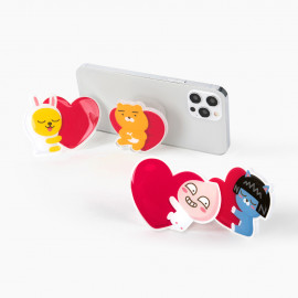 [S2B] KAKAOFRIENDS LoveHeart StandTok _RYAN APEACH, Pop Grip, Smartphone Grip Holder, Compatible with All Smartphone Cases, with iPhone, Samsung Galaxy, Tablet