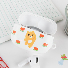 [S2B] KAKAOFRIENDS April Shower Flower AirPods Pro Case Cover _ Wireless Charging Cover Full Cover Protective Case Compatible for Apple Airpods Pro, Made in Korea
