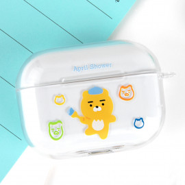 [S2B] KAKAOFRIENDS April Shower Painting AirPods Pro Case Cover _ Wireless Charging Cover Full Cover Protective Case Compatible for Apple Airpods Pro, Made in Korea