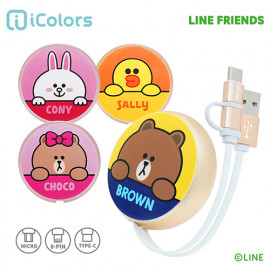 [S2B] LINE FRIENDS Retractable Cable_ BROWN, CONY, SALLY, CHOCO, MFi C89 Cable, Micro USB Cable, USB Type C Cable, Fast Charging Cable, iPhone, Samsung Galaxy, Android Phone, Tablet