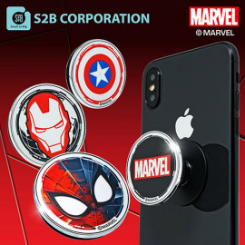[S2B] MARVEL Metal Color Holder. _ Iron Man Captain America Spider-Man, Pop Grip, Smartphone Stand Grip Holder, Compatible with All Smartphone Cases, iPhone, Samsung Galaxy, Tablet