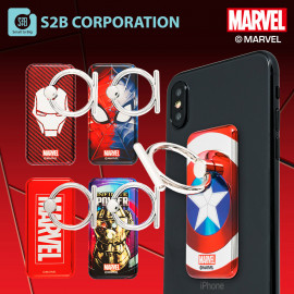 [S2B] MARVEL Alpha Ring _ Iron Man Captain America Spider-Man Thanos, Pop Grip, Smartphone Stand Grip Holder, Compatible with All Smartphone Cases, iPhone, Samsung Galaxy, Tablet