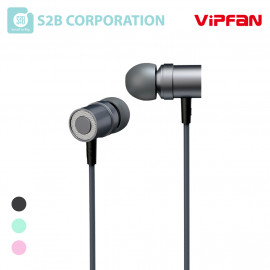 [S2B] VIPFAN M1 Earphones _ Earbuds Wired Headphones, 3.5mm in-Ear Wired Earbuds with Built-in Microphone & Volume Control