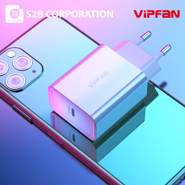[S2B] VIPFAN K1 PD USB C Fast Charger _ 18W PD Power Delivery high-Speed Charger,Type C PD Charging for USB-C Laptops,Compatible with MacBook Pro Air, iPhone, iPad Pro, Galaxy, Dell XPS and More