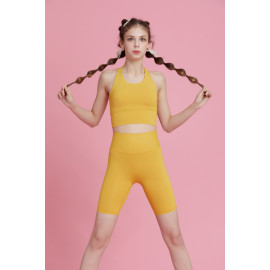 [AirFlawless] CLWP3007 Short Leggings Mustard, Yoga Pants, Shorts pants, Workout Pants For Women _ Made in KOREA