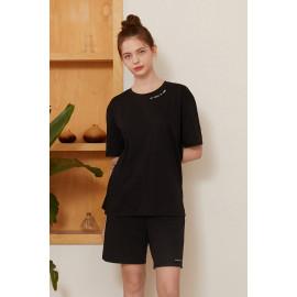 [Cielcoco] CLWT8079 Marimond _Eco-friendly material Sorona lettering SET _ Black, Short-sleeved T-shirt, Short pants, Summer shirt, Sportswear, Indoor wear, Women's fashion _ Made in KOREA