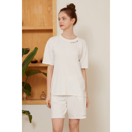[Cielcoco] CLWT8079 Marimond _Eco-friendly material Sorona lettering SET _ White, Short-sleeved T-shirt, Short pants, Summer shirt, Sportswear, Indoor wear, Women's fashion _ Made in KOREA
