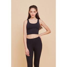 [Ultimate] CLWT4025 Ribbon Crop Top Black, Gym wear,Tank Top, yoga top, Jogging Clothes, yoga bra, Fashion Sportswear, Casual tops For Women _ Made in KOREA