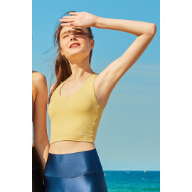 [Surpplex] CLWT4032 Lovely Button Crop Top Mustard, Gym wear,Tank Top, yoga top, Jogging Clothes, yoga bra, Fashion Sportswear, Casual tops For Women _ Made in KOREA