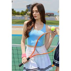 [Surpplex] CLWT4032 Lovely Button Crop Top Smoke Blue, Gym wear,Tank Top, yoga top, Jogging Clothes, yoga bra, Fashion Sportswear, Casual tops For Women _ Made in KOREA