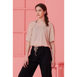 [Cielcoco] CLWT8077 Boat Neck Shirring Cover Up_Beige, Boatneck Top, Short-sleeved T-shirt, summer shirt, sportswear, indoor wear, women's fashion _ Made in KOREA