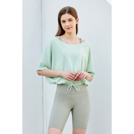 [Cielcoco] CLWT8077 Boat Neck Shirring Cover Up_Mint, Boatneck Top, Short-sleeved T-shirt, summer shirt, sportswear, indoor wear, women's fashion _ Made in KOREA