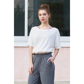 [Cielcoco] CLWT8077 Boat Neck Shirring Cover Up_White, Boatneck Top, Short-sleeved T-shirt, summer shirt, sportswear, indoor wear, women's fashion _ Made in KOREA