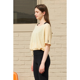 [Cielcoco] CLWT8077 Boat Neck Shirring Cover Up_Yellow, Boatneck Top, Short-sleeved T-shirt, summer shirt, sportswear, indoor wear, women's fashion _ Made in KOREA