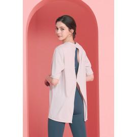 [Cielcoco] CLWT8080 Open back T-shirt _Silver Gray, short-sleeved T-shirt, summer shirt, sweatshirt, sportswear, indoor wear, women's fashion _ Made in KOREA