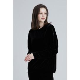 [Cielcoco] CLWT8073 Simply Velvet Sweatshirt Black, Sweats, Sportswear, Jogging Clothes, T-shirts, Fashion Sportswear, Casual tops For Women _ Made in KOREA