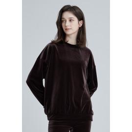 [Cielcoco] CLWT8073 Simply Velvet Sweatshirt Brown, Sweats, Sportswear, Jogging Clothes, T-shirts, Fashion Sportswear, Casual tops For Women _ Made in KOREA