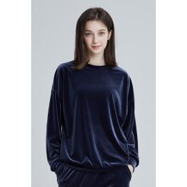 [Cielcoco] CLWT8073 Simply Velvet Sweatshirt Gray, Sweats, Sportswear, Jogging Clothes, T-shirts, Fashion Sportswear, Casual tops For Women _ Made in KOREA