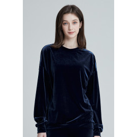 [Cielcoco] CLWT8073 Simply Velvet Sweatshirt Navy, Sweats, Sportswear, Jogging Clothes, T-shirts, Fashion Sportswear, Casual tops For Women _ Made in KOREA