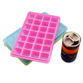 [Moracc] Silicone Ice Mold Green _ Silicone Ice Tray with Lid Super Easy Release Ice Cube Molds for Making 28 Pcs Ice Cubes BPA Free, for Chilled Drinks, Whiskey, Cocktail, Food, Made in Korea