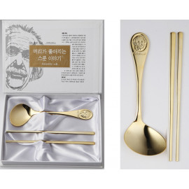 [Solingen] Einstein Spoon and Chopsticks set (24K pure gold plated) for kids, Stainless Steel (18-10) _ Made in KOREA
