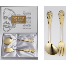 [Solingen] Einstein Spoon and Fork set (24K pure gold plated) for kids, Stainless Steel (18-10) _ Made in KOREA