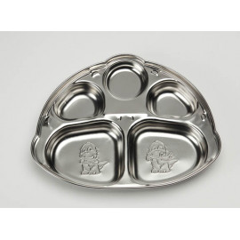 [Solingen] Dinosaur Snack Plate for Infants Stainless Steel, Stainless Steel (27) _ Made in KOREA
