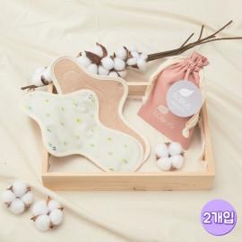 [ECOUS] Comfortable Cotton Large Pad 2P _ Eco Sanitary Pads, Organic Cotton, Organic Reusable Cotton Pads, Sanitary Napkins, Menstrual Pads, Made in Korea