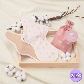 [ECOUS] Comfortable Cotton Overnight Pad 2P _ Eco Sanitary Pads, Organic Cotton, Organic Reusable Cotton Pads, Sanitary Napkins, Menstrual Pads, Made in Korea